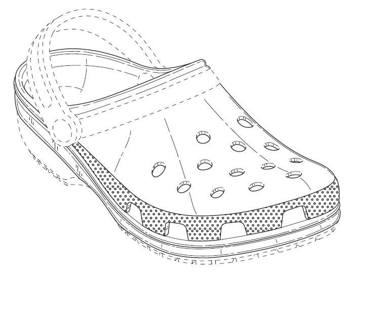 shoes drawing designs. the broken lines show position of mark and are not claimed as part mark\u201d with a drawing follows: shoes designs